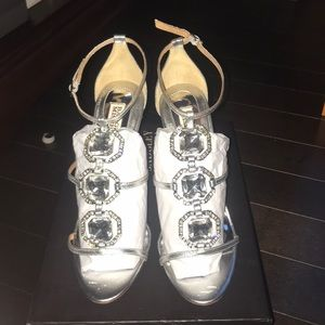 Badgley Mischka Silver Heels